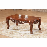 Verona Floral Coffee Table With Ornate Cherry Frame