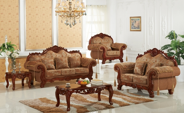 Verona Traditional Beige Floral Sofa U0026 Loveseat With Ornate Cherry Frame  Finish