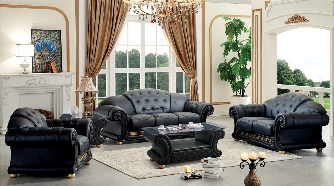 Versace Living Room Set Black Leather Living Room Set