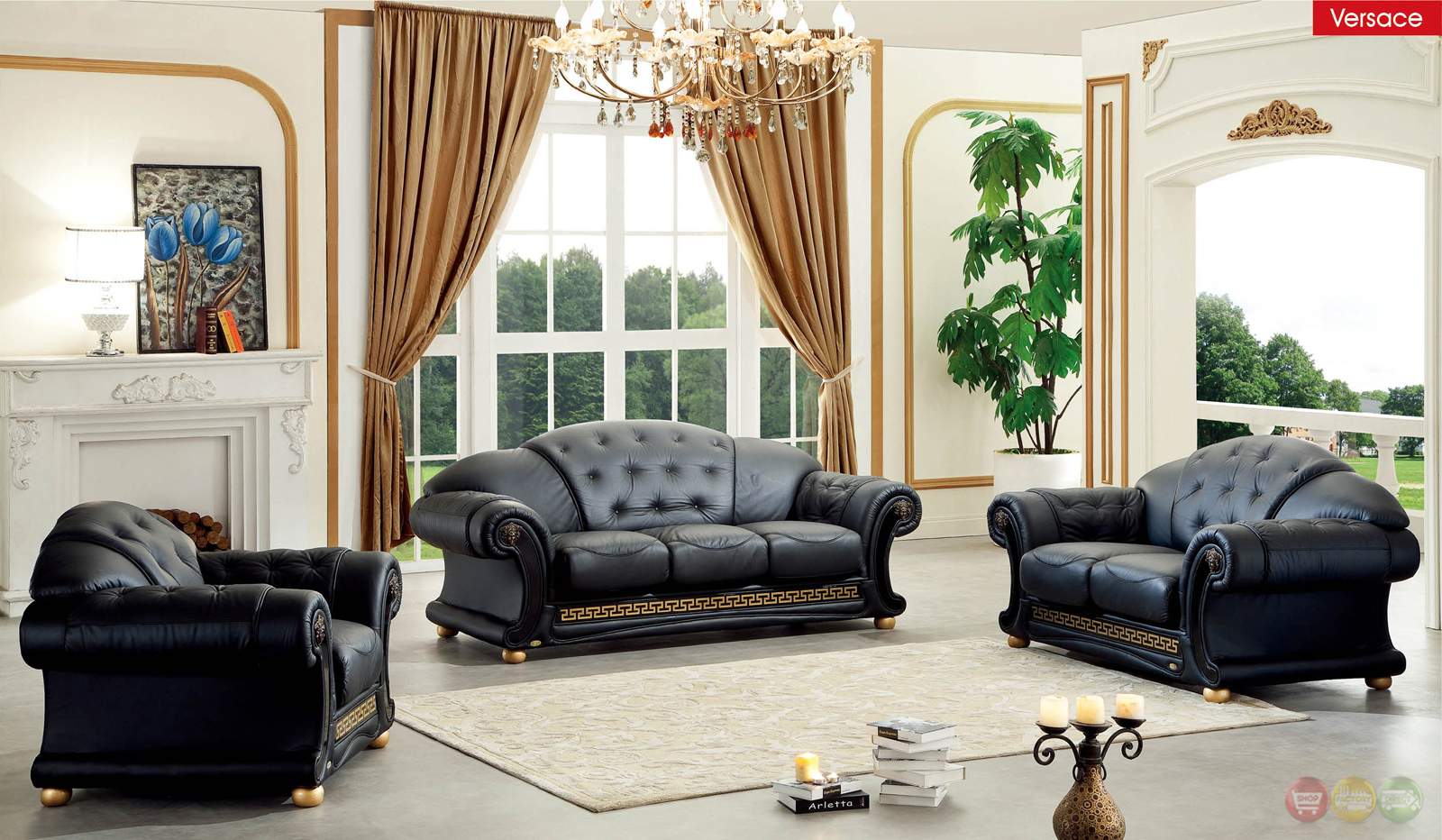 Versace living room set black leather living room set for Living room with black leather furniture