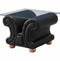 Versace Black Leather Upholstered Glass Top End Table