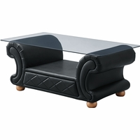 Versace Black Leather Upholstered Glass Top Rectangular Coffee Table