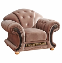 Versace Button Tufted Brown Fabric Chair With Carved Gold Wood Accents
