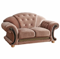 Versace Button Tufted Brown Fabric Loveseat With Carved Gold Wood Accents