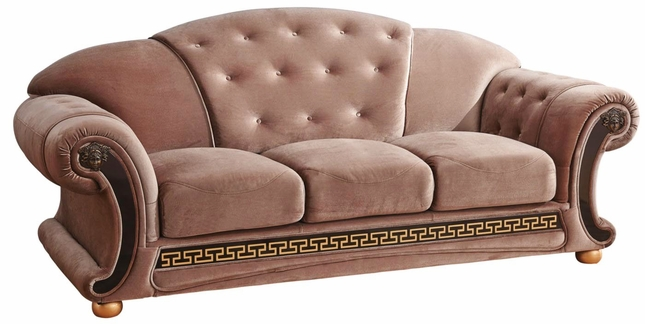 Sofa Luxury Button Tufted Brown Fabric W Black Amp Gold Accents