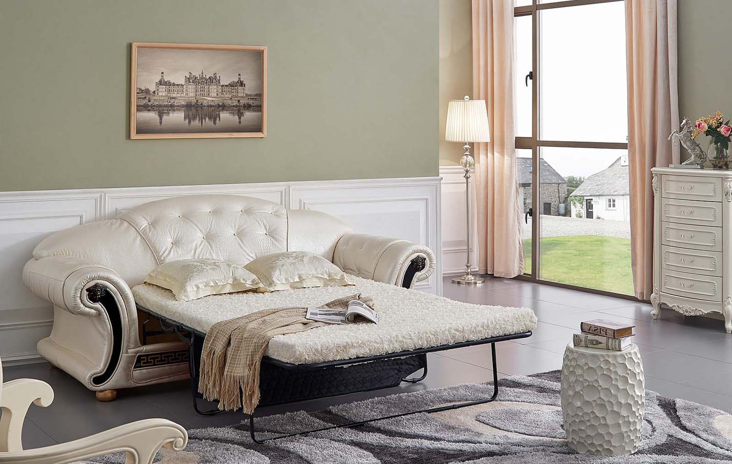 Versace Button Tufted Pearl White Italian Leather Luxury ...