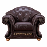 Versace Chair In Dark Brown Croc Skin Embossed Top Grain Italian Leather