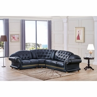 Versace Cleopatra Black Italian Top Grain Leather Left Chaise Sectional Sofa