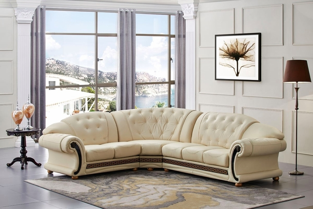 Versace Cleopatra Cream Italian Top Grain Leather Beige Left Chaise Sectional Sofa