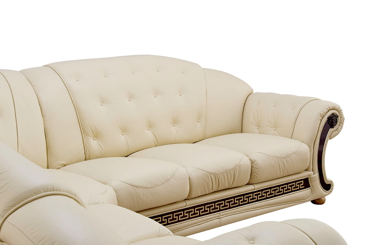 Versace living room furniture cream italian leather sofa Versace sofa