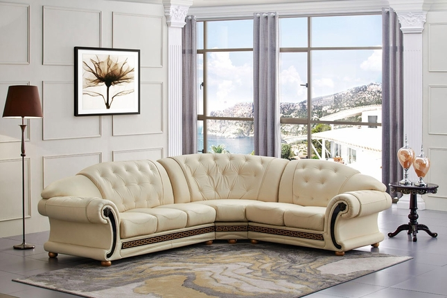 Versace Leather Sofa | Beige Leather Sofa | Shop Factory Direct
