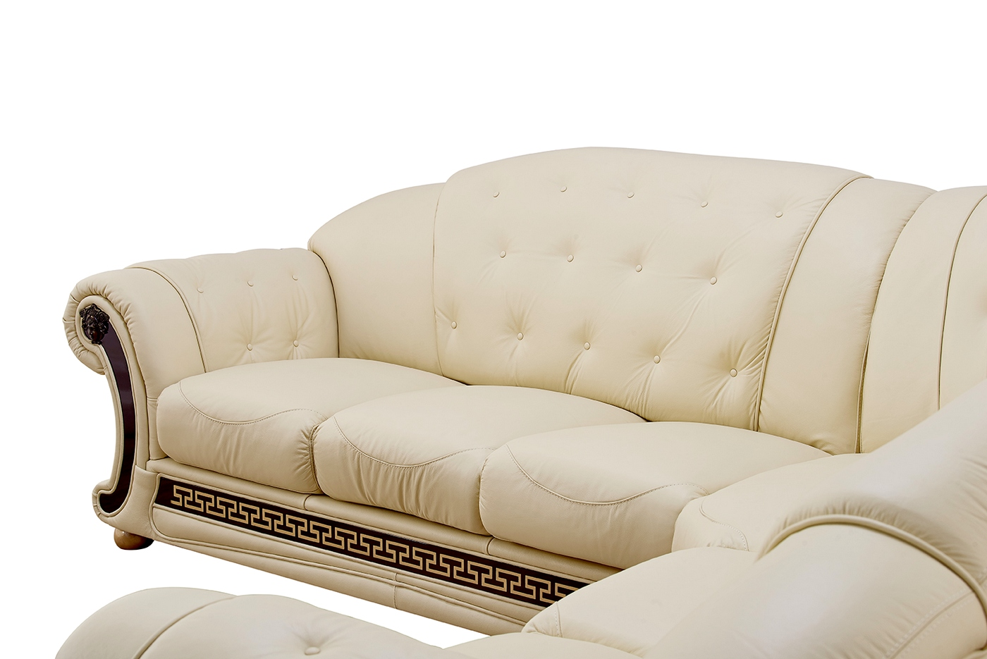 Versace leather sofa beige leather sofa shop factory Versace sofa