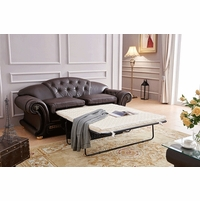 Versace Dark Brown Sleeper Sofa In Croc Skin Embossed Top Grain Leather