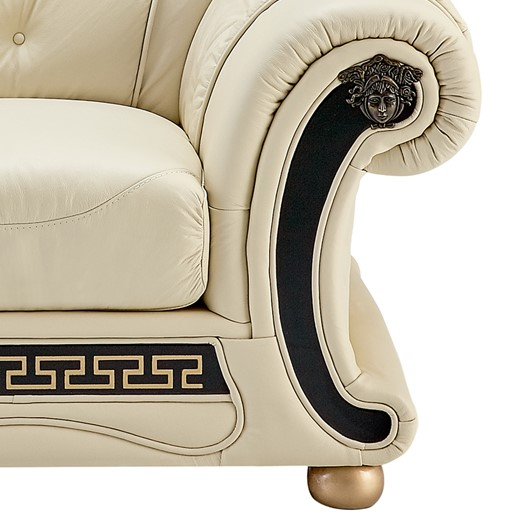 Shop Bryce White Italian Leather Sofa And Two Chairs: Versace White Ivory Genuine Top Grain Italian Leather