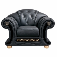 Versace Luxurious Button Tufted Black Italian Leather Chair