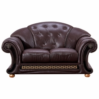 Versace Luxurious Loveseat In Dark Brown Croc Skin Embossed Top Grain Leather