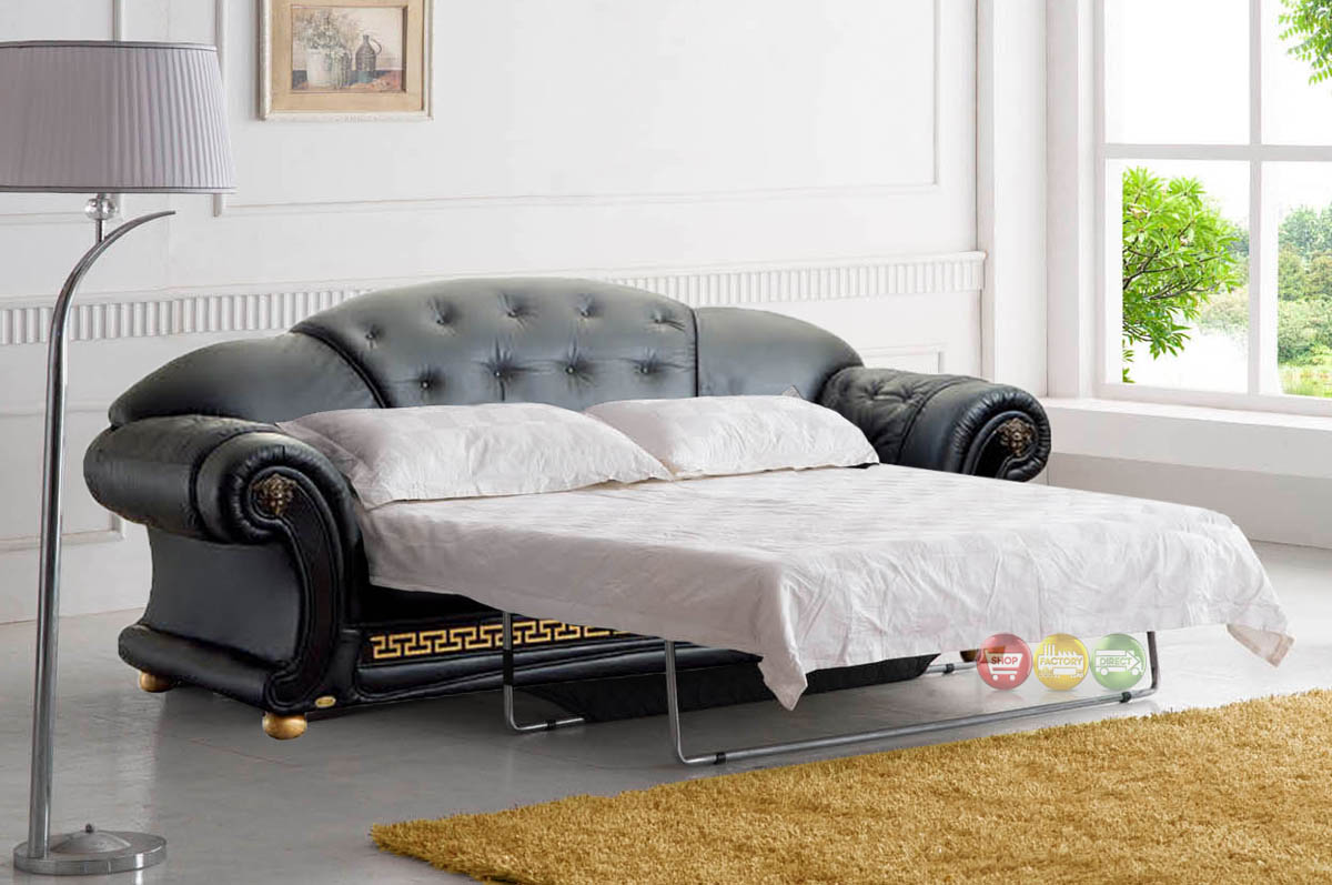 Versace luxury button tufted black italian leather pull for Luxuriose sofas