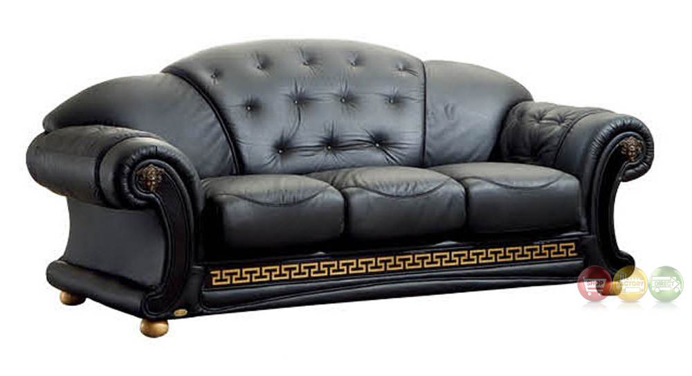 Versace luxury button tufted black italian leather pull Versace sofa