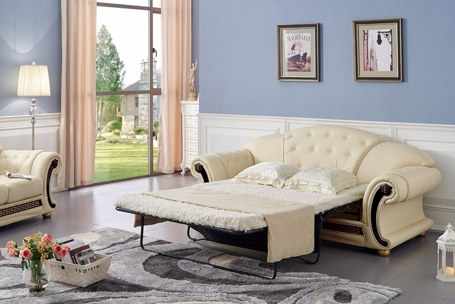 Luxury Button Tufted Ivory Italian Leather Pull Out Sleeper Sofa