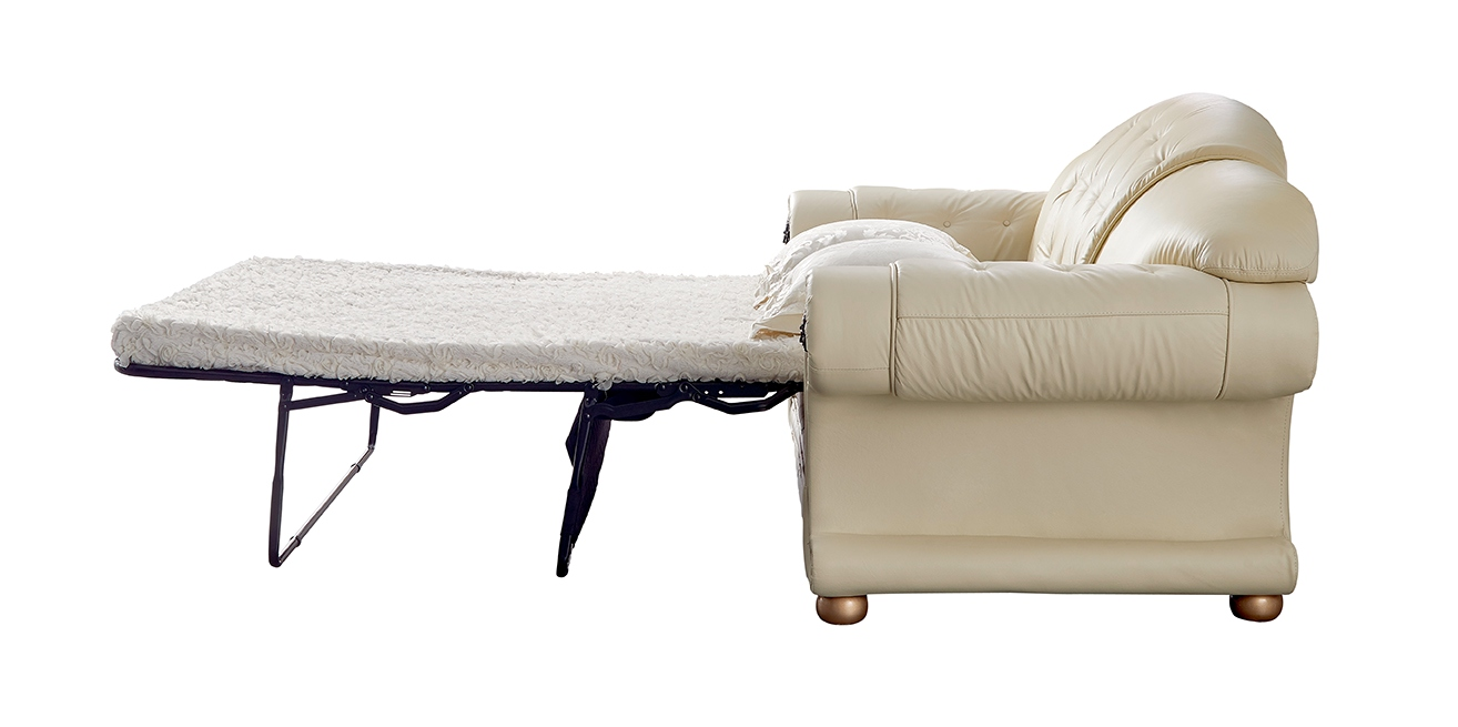 Versace luxury button tufted ivory italian leather pull for Tufted leather sleeper sofa