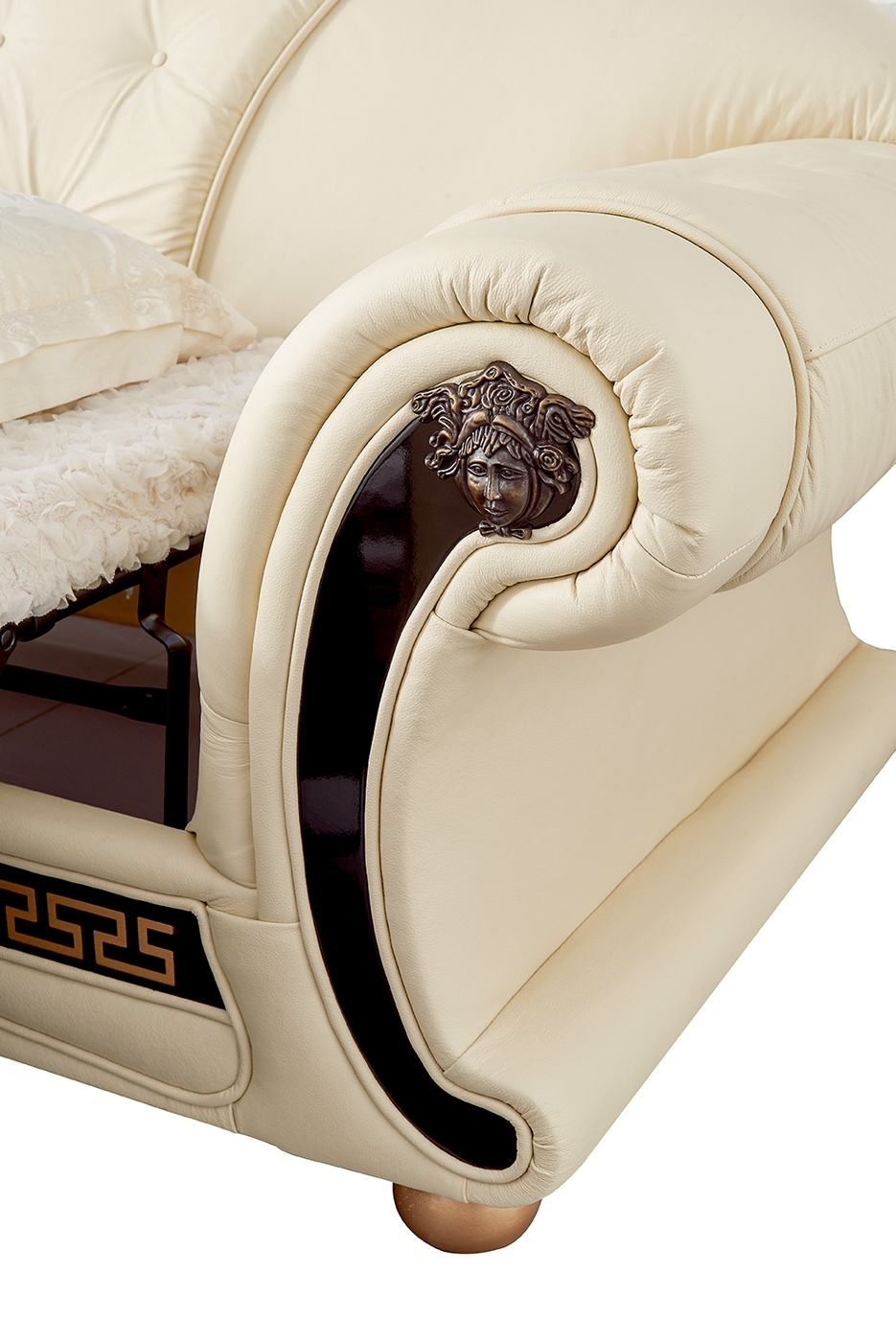 Versace Luxury Button Tufted Ivory Italian Leather Pull