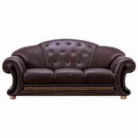 Versace Sofa In Dark Brown Croc Skin Embossed Top Grain Italian Leather