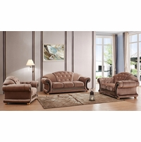 Versace Tufted Brown Fabric Sofa & Loveseat Set With Carved Wood Accents