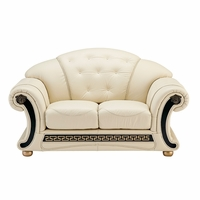 Versace White Ivory Genuine Italian Leather Button Tufted Loveseat