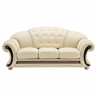 Versace White Ivory Genuine Top Grain Italian Leather Button Tufted Sofa