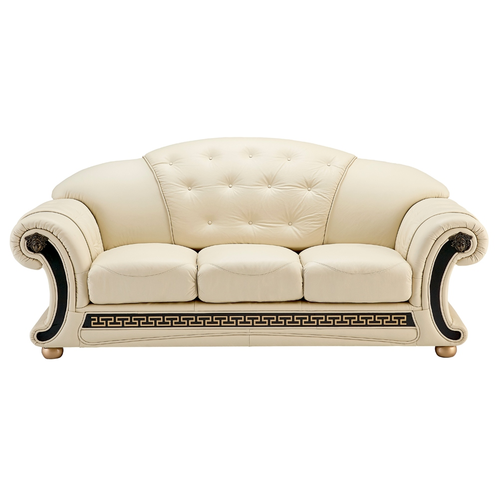 White tufted ivory leather versace sofa italian leather Versace sofa