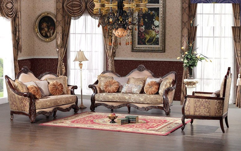 outstanding traditional formal living rooms   Versailes Exposed Wood Traditional Formal Living Room Set
