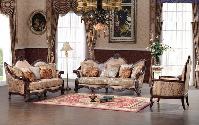 Versailes Exposed Wood Traditional Formal Living Room Set