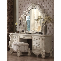 Versailles Bone White 7-drawer Vanity Desk With Silver Accents