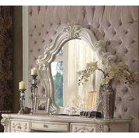 Versailles Bone White Ornamental Mirror With Silver Accents