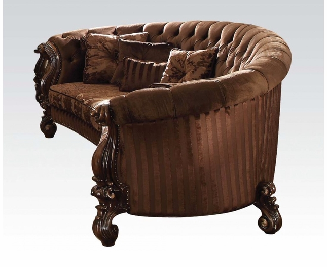 Versailles Button Tufted Brown Velvet Curved Sofa In Cherry Oak