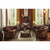 Versailles Button Tufted Brown Velvet Sofa And Chair Set In Cherry Oak