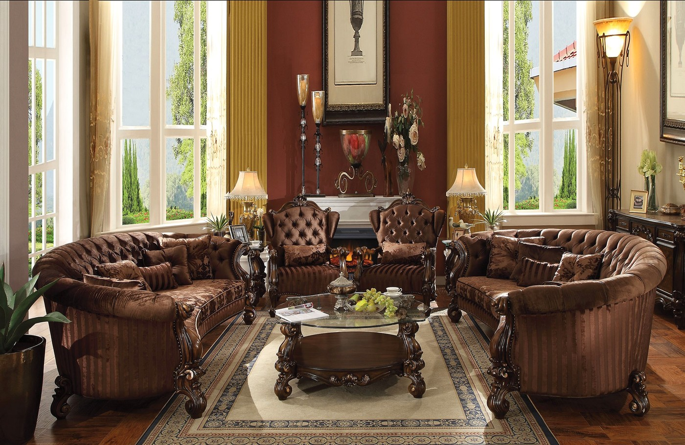 Versailles Button Tufted Brown Velvet Sofa And Chair Set