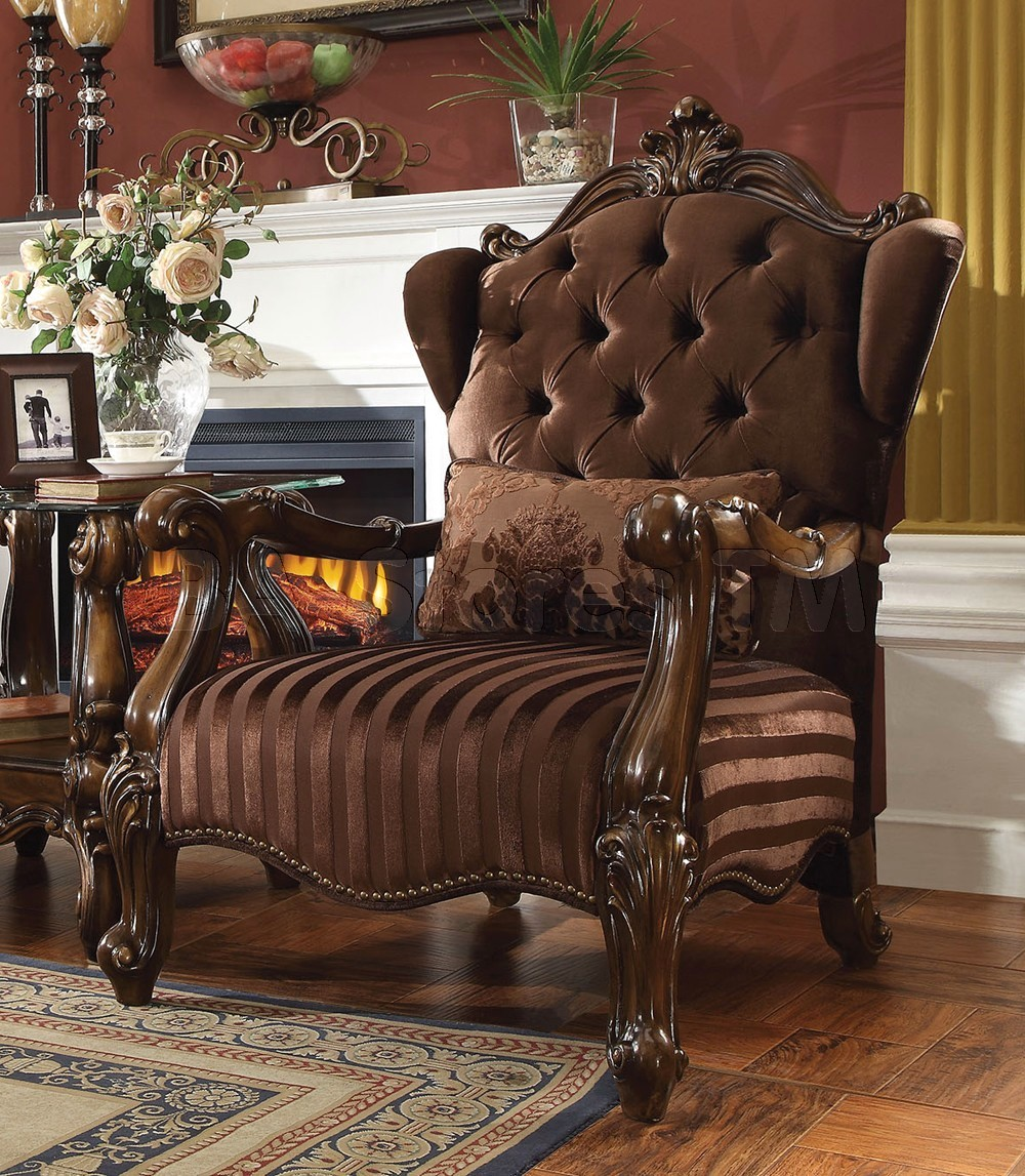 Versailles Button Tufted Brown Velvet Upholstered Chair In