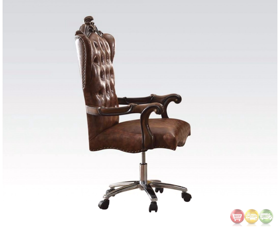 Versailles Cherry Oak Button Tufted Lift And Swivel Office