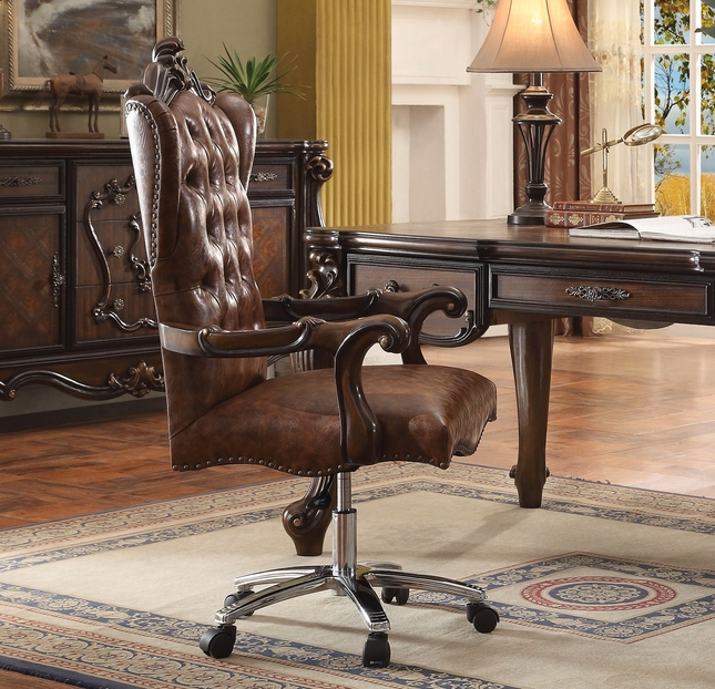 Admirable Versailles Cherry Oak Button Tufted Lift And Swivel Office Chair Ocoug Best Dining Table And Chair Ideas Images Ocougorg