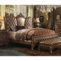 Versailles Classic King Bed In Light Brown Button Tufted Faux Leather