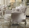 Versailles Formal Bone White Velvet Chair With Ornate Carved Accents