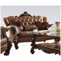 Versailles Formal Button Tufted Loveseat In Light Brown Faux Leather