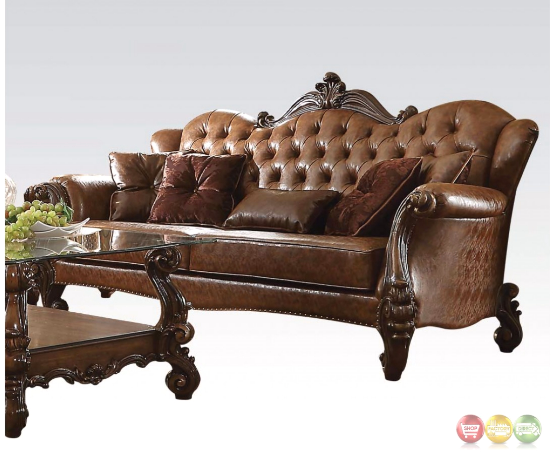 versailles formal button tufted sofa in light brown leather. Black Bedroom Furniture Sets. Home Design Ideas
