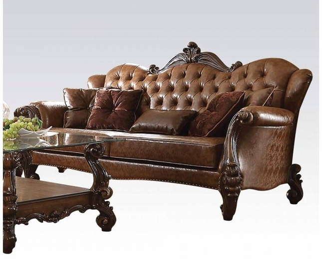 Versailles Traditional Dark Brown Button Tufted 5 pc Formal Carved Wood w//Tables