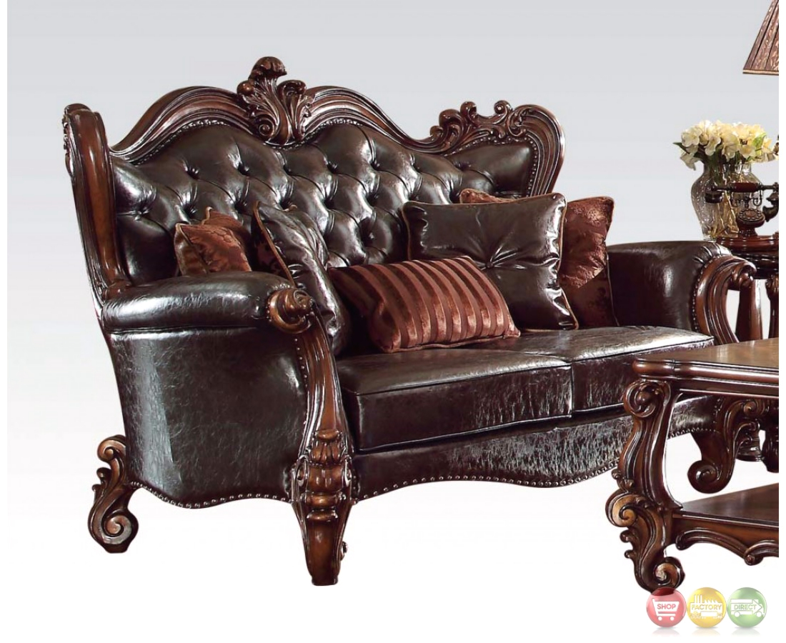 Versailles formal dark brown faux leather sofa and for Leather sofa and loveseat set