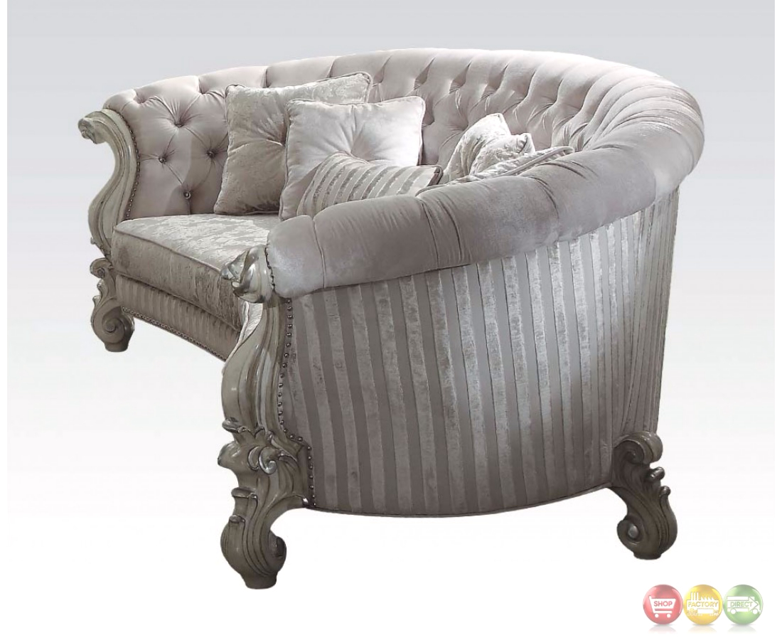 versailles formal oval sofa in bone white button tufted velvet. Black Bedroom Furniture Sets. Home Design Ideas
