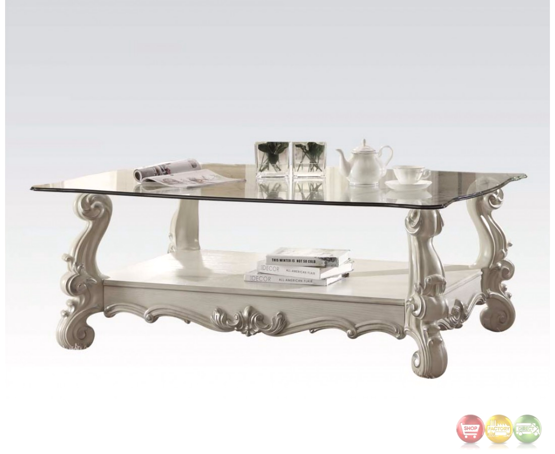 versailles glass top rectangular coffee table in vintage