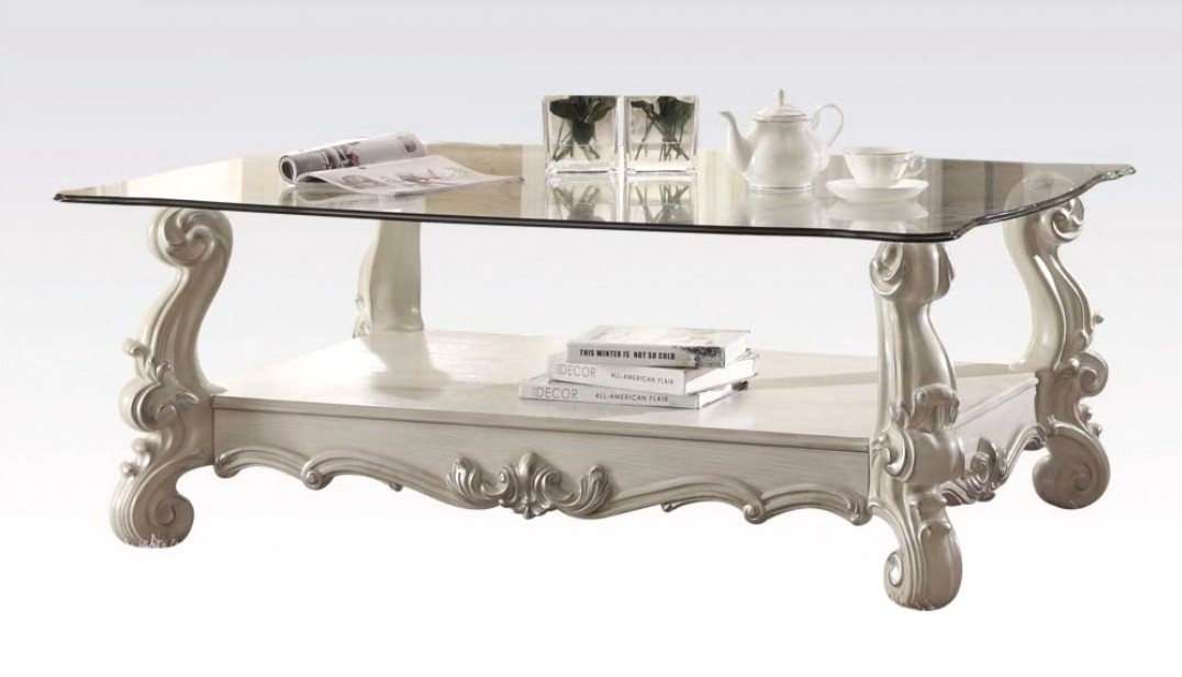 Versailles glass top rectangular coffee table in vintage for Rectangular coffee table with glass top