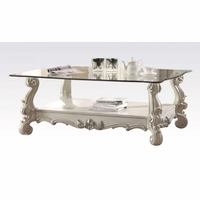 Versailles Glass Top Rectangular Coffee Table In Vintage Bone White